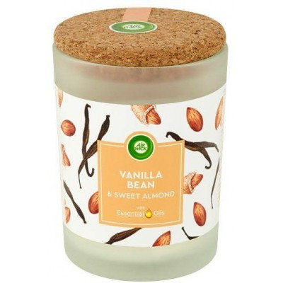 Air Wick Essential Oils svíčka - Vanilka a sladké mandle 185 g