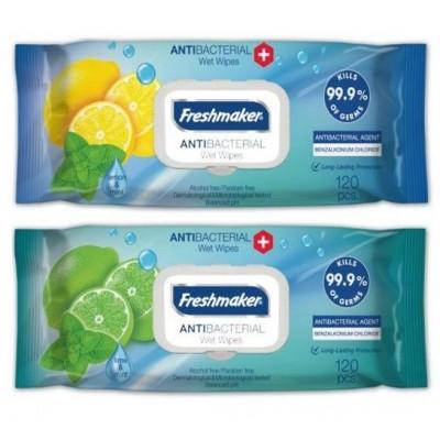 Freshmaker Antibakteriální vlhčené ubrousky Lime&Mint 120 ks