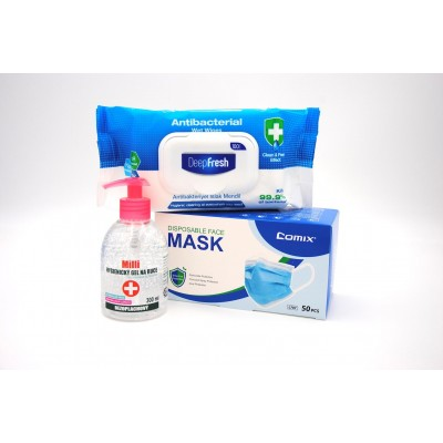 Comix Student Anti-Covid Pack XL - Rouška 50 ks, Gel 300 ml a Antibakteriální ubrousky 100 ks