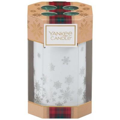 Yankee Candle Vánoční dárková sada 4ks čajových vonných svíček + keramický svícen