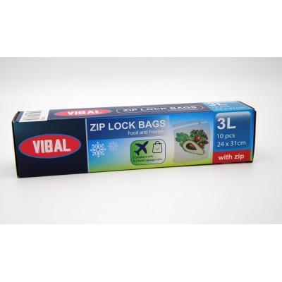 Vibal Plastové sáčky ZIP uzávěrem 10 ks, 24 x 31 cm, 3 litry
