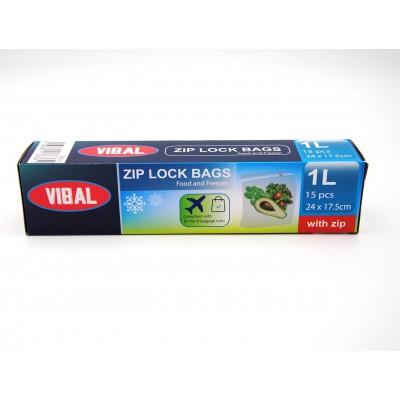 Vibal Plastové sáčky ZIP uzávěrem 15 ks, 24 x 17,5 cm, 1 litr