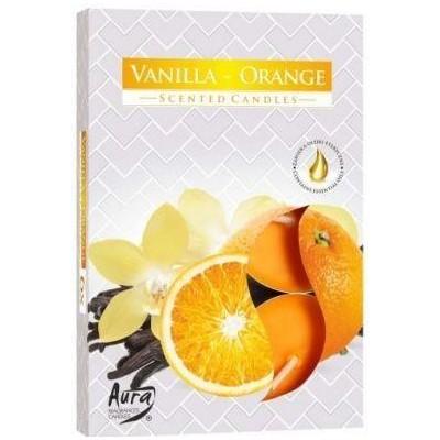 Bispol Aura čajové svíčky Vanilla-Orange 6 ks