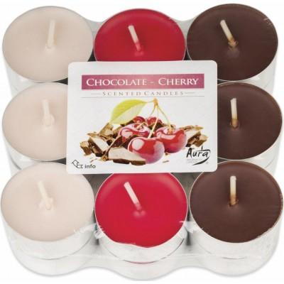 Bispol Aura čajové svíčky - Chocolate-Cherry 18 ks