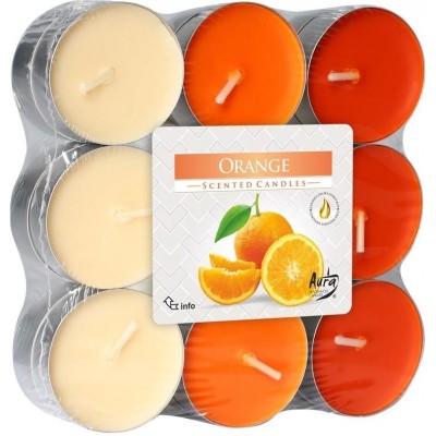 Bispol Aura čajové svíčky - Orange 18 ks