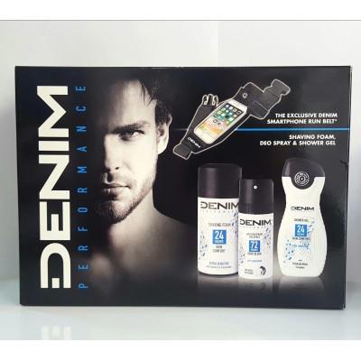 Denim Performance Deodorant 150 ml +SG 250 ml + Pěna na holení 300 ml + Pásek (dárková sada)