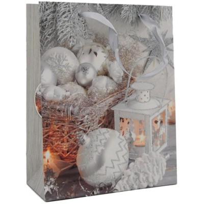 """Dárková taška vánoční s glitry """"S"""" 23 x 18 x 10 cm"""