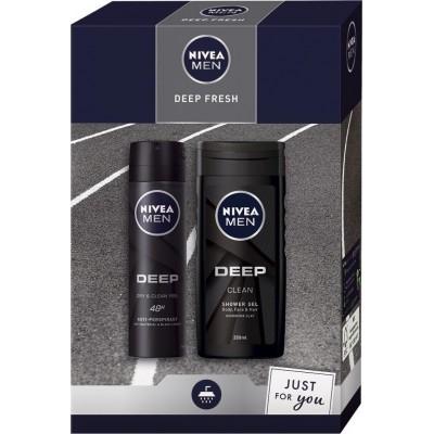 Nivea Men Deep Fresh antiperspirant deodorant sprej 150 ml + sprchový gel 250 ml dárková sada