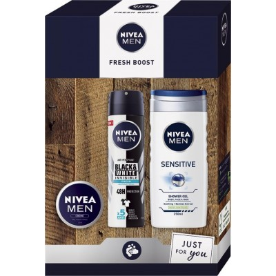 Nivea Men Fresh Boost antiperspirant deodorant sprej 150 ml + sprchový gel 250 ml + krém 30 ml dárko