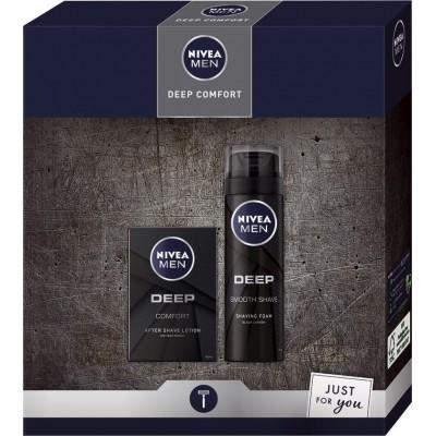 Nivea pro muže Deep Comfort voda po holení pro muže 100 ml + pěna na holení 200 ml dárková sada