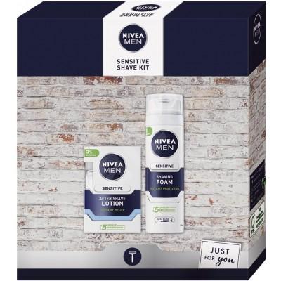 Nivea Men Sensitive Shave Kit voda po holení 100 ml + pěna na holení 200 ml dárková sada