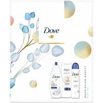 Dove Nourishing beauty Deeply Nourishing sprchový gel pro ženy 250 ml + Dove tělové mléko Essential