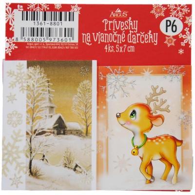 Argus Vánoční jmenovky na dárky 50 x 70 mm, 4ks