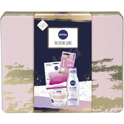 Nivea Blossom Care micelární voda 200 ml + tělové suflé 200 ml + pleťová maska 1 kus + Labello Soft