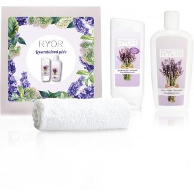 Ryor Levandulová péče sprchový gel 200 ml + tělové mléko 300 ml + ručník 30 x 50 cm (dárková sada)