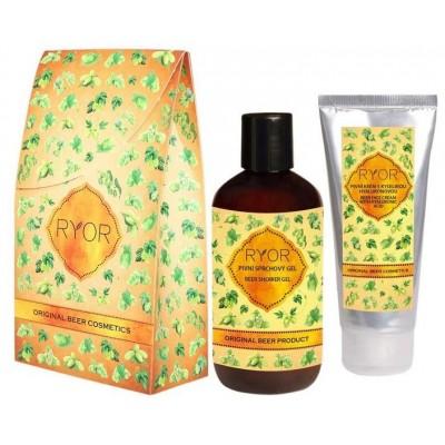 Ryor Pivní kosmetika krém s kyselinou hyaluronovou 100 ml + sprchový gel 250 ml (dárková sada)