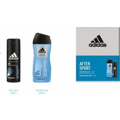 Adidas After Sport Men deodorant sprej 150 ml + 3v1 sprchový gel 250 ml (dárková sada)