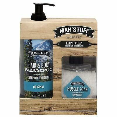 Technic Man´Stuff Koupelová sůl 270 g + sprchový gel na vlasy a tělo 490 ml (dárková sada)