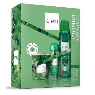 C-Thru Luminous Emerald EDT 30 ml + deospray 150 ml + vonná svíčka (dárková sada)