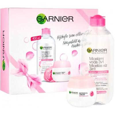Garnier Skin Rose Sensitive micerální voda 400 ml + Botanical hydratační krém 50 ml (dárková sada)