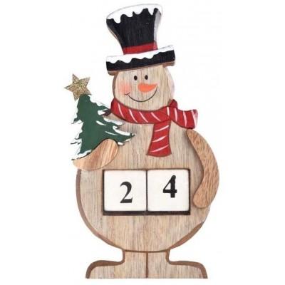 Emocio Vánoční dřevěná dekorace adventní sněhulák barevný