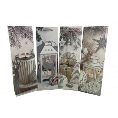 Dárková taška Vánoční na láhve 12 x 36 x 9 cm