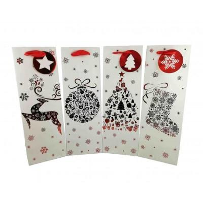Dárková taška Vánoční na láhve 12,5 x 35,5 x 8,3 cm