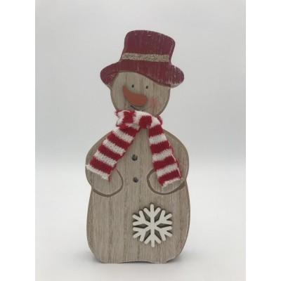 Emocio Vánoční dřevěná dekorace Sněhulák přírodní