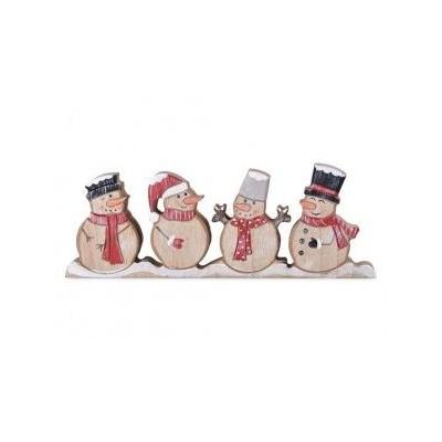 Emocio Vánoční dřevěná dekorace sněhuláci přírodní + červená