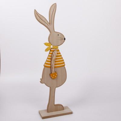 Dekorace zajíc stojící žlutý 60cm