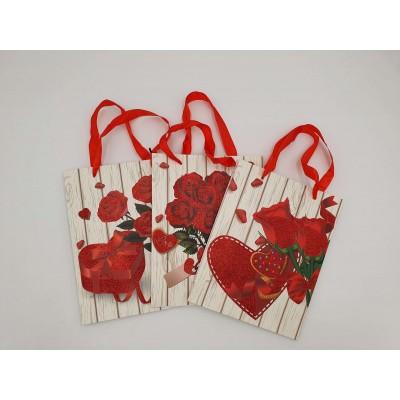Taška dárková srdce růže mix