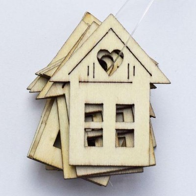 Dekorace domeček s lepíkem 10 ks 45mm