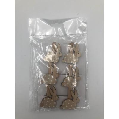 Kolíčky zajíčkové natur 6 ks